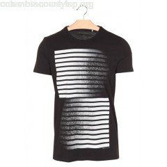 New collection REGULAR-FIT ROUND-NECK COTTON T-SHIRT WITH SCREEN PRINT NOIR IKKS MEN vrxMPXR6