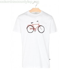 New collection REGULAR-FIT ROUND-NECK T-SHIRT WITH BICYCLE SCREEN PRINT WHITE LOREAK MEN u79lx3Ur
