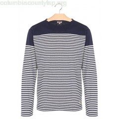 New collection REGULAR-FIT STRIPED COTTON AND LINEN T-SHIRT WITH ROUND NECK MARINE DEEP/NATURE ARMOR LUX MEN UxfokReE