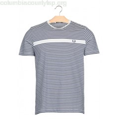 New collection REGULAR-FIT STRIPED COTTON T-SHIRT WITH ROUND NECK SNOW WHITE FRED PERRY MEN zqLsM9hu