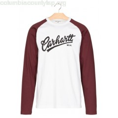 New collection ROUND-NECK TWO-TONE COTTON T-SHIRT WITH SCREEN PRINT 0290-WHITE / CHIANTI / BLACK CARHARTT WIP MEN Vfk2yjat