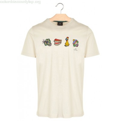 New collection SCREEN-PRINTED T-SHIRT IVORY PAUL SMITH MEN uKY38s0C