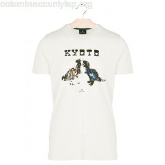 New collection SLIM-FIT ROUND-NECK COTTON T-SHIRT WITH SCREEN PRINT IVORY PAUL SMITH MEN bE6k6ROq