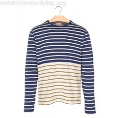 New collection STRIPED COTTON ROUND-NECK T-SHIRT AVISO/NATURE/TOBACCO ARMOR LUX MEN ggyVLhYY