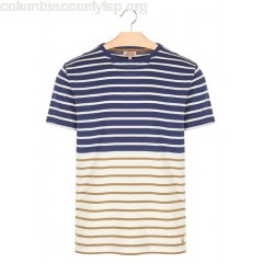 New collection STRIPED ROUND-NECK COTTON T-SHIRT AVISO/NATURE/TOBACCO ARMOR LUX MEN rDK2iuP3
