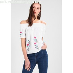 Dorothy Perkins FLORAL EMBROIDERED SHIRRED BARDOT Blouse white NrtN4C4a