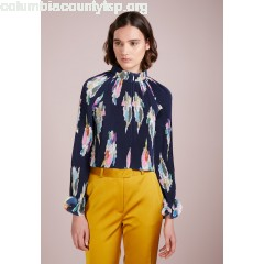 Tibi PLEATED CAMELLIA CROPPED TOP Blouse navy multi pKhEQ04I