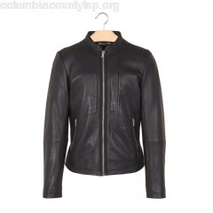 New collection CALFSKIN LEATHER SLIM-FIT JACKET NOIR IKKS MEN O5KDeu45