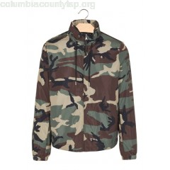 New collection CAMOUFLAGE-PRINT WINDBREAKER WITH HOOD KAKI SANDRO MEN p5ETkzXs