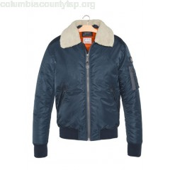 New collection PILOTE JACKET WITH SHEEPSKIN COLLAR NAVY SCHOTT MEN Upi8T9C8