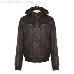 New collection ZIPPED LEATHER JACKET WITH HOOD CACAO CHEVIGNON MEN VFakQkOf