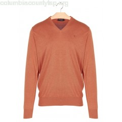 New collection COTTON AND SILK V-NECK SWEATER ORANGE HACKETT MEN fzCLSHZC