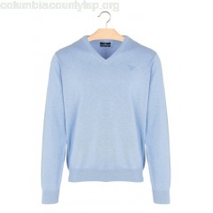 New collection COTTON FITTED V-NECK SWEATER BLEU EAU MELANGE FONCE GANT MEN 0EGGCXe0