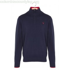 New collection COTTON SWEATER WITH ZIPPED HIGH NECK BLEU NUIT GANT MEN uaarvG47
