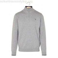 New collection COTTON SWEATER WITH ZIPPED HIGH NECK GRIS MEL GANT MEN HqT5cYw2