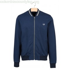 New collection COTTON SWEATSHIRT WITH BOMBER JACKET COLLAR DARK NIGHT FRED PERRY MEN a73LH8P4