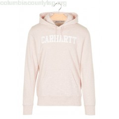 New collection REGULAR-FIT COTTON HOODIE WITH SCREEN PRINT 87690-SANDY ROSE HEATHER / WHITE CARHARTT WIP MEN nfJbVUs2