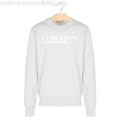 New collection REGULAR-FIT ROUND-NECK COTTON SWEATSHIRT WITH SCREEN PRINT 48290-ASH HEATHER / WHITE CARHARTT WIP MEN zOhMxgHb