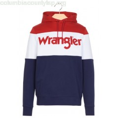 New collection REGULAR-FIT SCREEN-PRINTED COTTON HOODIE PEACOAT BLUE WRANGLER MEN gqDeD9VB