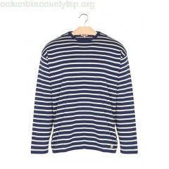 New collection REGULAR-FIT STRIPED COTTON ROUND-NECK SWEATER AVISO/NATURE ARMOR LUX MEN RneuqF4R