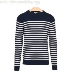 New collection REGULAR-FIT STRIPED COTTON SWEATER WITH ROUND NECK NAVY + RAW HONEYCOMB STRIPES HARTFORD MEN BUfAfSlY