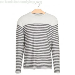 New collection REGULAR-FIT STRIPED ROUND-NECK COTTON SWEATER TARMAC GREY TOM TAILOR MEN CY5OzKjB
