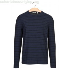 New collection REGULAR-FIT STRIPED WOOL AND COTTON SWEATER WITH ROUND NECK TURQUOISE IKKS MEN gsKGfZF7