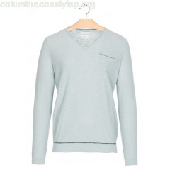 New collection ROUND-NECK LINEN AND COTTON SWEATER WITH POCKET AQUA HARRIS WILSON MEN agi2O8oo