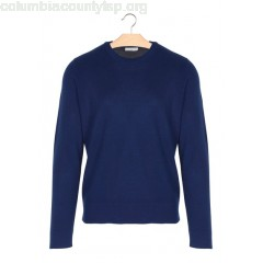 New collection ROUND-NECK WOOL-BLEND SWEATER BLEU SANDRO MEN Es3T8g3s