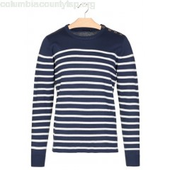 New collection SLIM-FIT BUTTONED COTTON-BLEND SWEATER WITH STRIPES AND ROUND NECK NAVY BEST MOUNTAIN MEN l7kIWtSk
