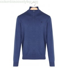 New collection SLIM-FIT SWEATER WITH ZIP-UP HIGH NECK DARK DENIM HACKETT MEN 8kepccMB