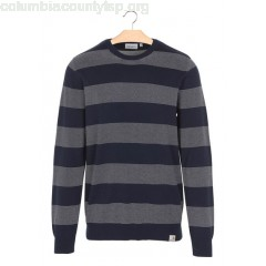 New collection STRIPED COTTON ROUND-NECK SWEATER 7790-ATLANTIC STRIPE, NAVY / WHITE CARHARTT WIP MEN 2brsUvxB