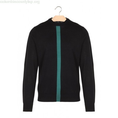 New collection TWO-TONE ROUND-NECK MERINO WOOL SWEATER BLACK PAUL SMITH MEN nC0IfZhq