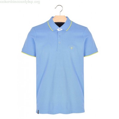 New collection CONTRASTING-COLLAR REGULAR-FIT COTTON POLO SHIRT BLEU BEST MOUNTAIN MEN FhhMGixU