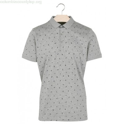 New collection FEATHER PRINT POLO SHIRT GRIS CHINE BEST MOUNTAIN MEN GhCJsFEr