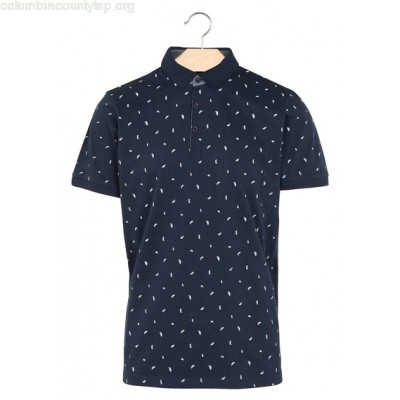 New collection FEATHER PRINT POLO SHIRT NAVY BEST MOUNTAIN MEN QD1BpAwg