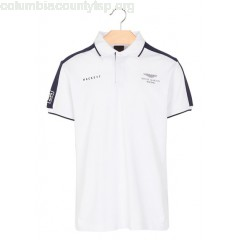New collection HACKETT X ASTON MARTIN RACING SHORT-SLEEVED REGULAR POLO SHIRT WHITE HACKETT MEN RXaHkzGu