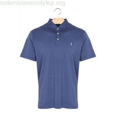 New collection SLIM-FIT COTTON POLO SHIRT DERBY BLUE HEATHER POLO RALPH LAUREN MEN 448j3Y97