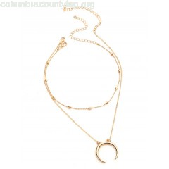 Metal Moon Pendant Necklace With Chain Choker lDjhru1U