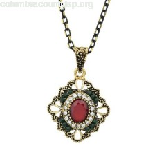 Red Retro Diamond Necklace 82Q5FqPb