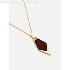 Wood Detail Geometric Pendant Chain Necklace Qhi2Rs5Z