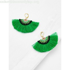 Embroidery Detail Fan Shaped Drop Earrings DPoLjy6w