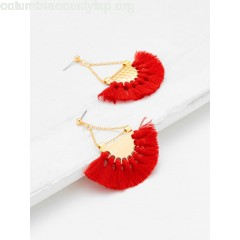 Fan Shaped Tassel Earrings oJ38dDPb