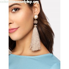 Faux Pearl Top Tassel Drop Earrings HYYXPqei