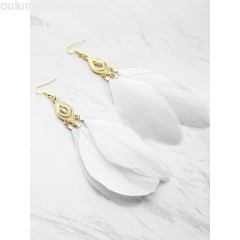 Feather Embellished Drop Earrings MiyF2BPZ
