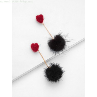 Heart Top Chain Pom Pom Drop Earrings 8S8NTolh