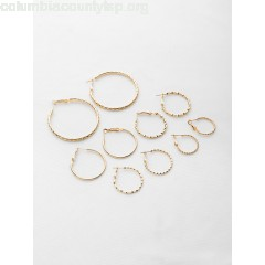 Multi Shaped Textured Hoop Earrings Set 16VKA9wZ