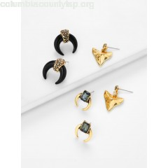 Pyramid & Horn Design Retro Stud Earrings tZchQwkv