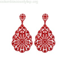 Red Rhinestone Hollow Out Dangle Earrings GXPiBNW4