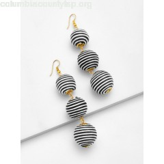 Striped Pom Pom Drop Earrings NIQrRsU7
